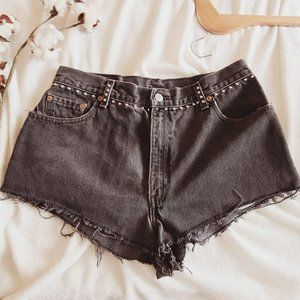 Levi's 550 High Rise Studded Black Jean Shorts 14W